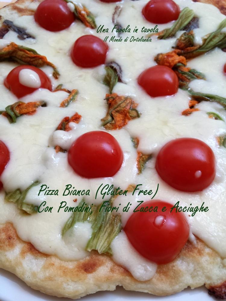 Pizza bianca (gluten free) in padella con pomodorini, fiori di zucca e acciughe: una nuova scoperta! (3/4)