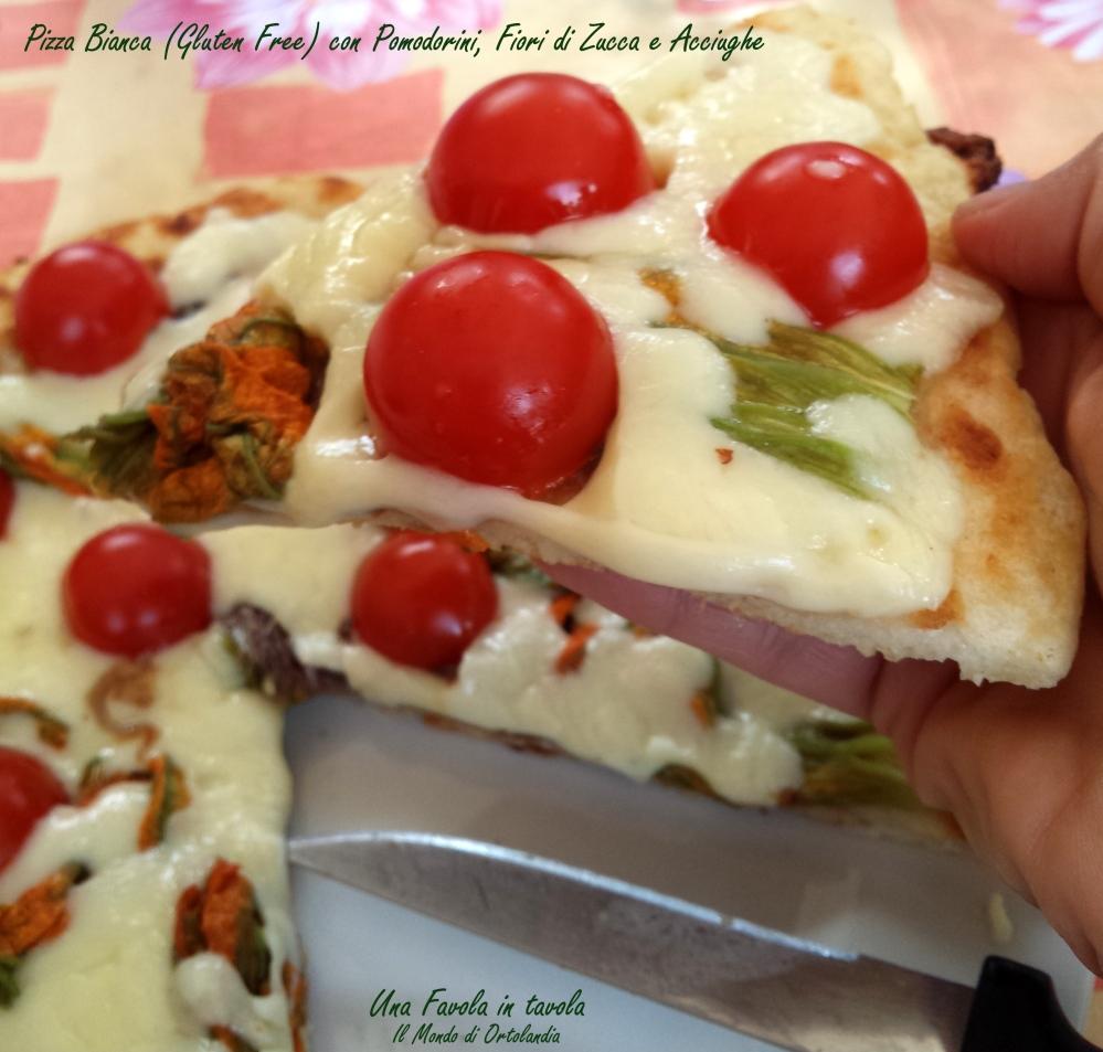 Pizza bianca (gluten free) in padella con pomodorini, fiori di zucca e acciughe: una nuova scoperta! (4/4)